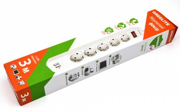 СЕТЕВОЙ ФИЛЬТР (удлинитель)  Greelite SP5 USB 3M на 5 розеток 3 метра
