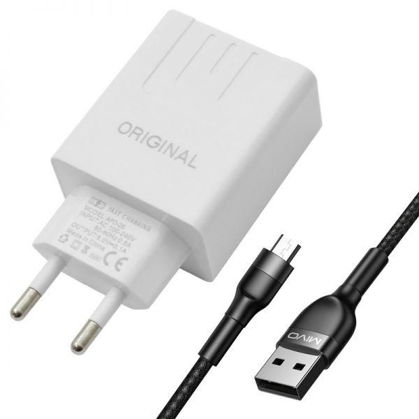 Оригинальное Универсальное Качественное сетевое зарядное устройство Original APD-2S с измерителем тока (Android/IOS)) с кабелем Mivo MX-41M с разъемом Micro USB