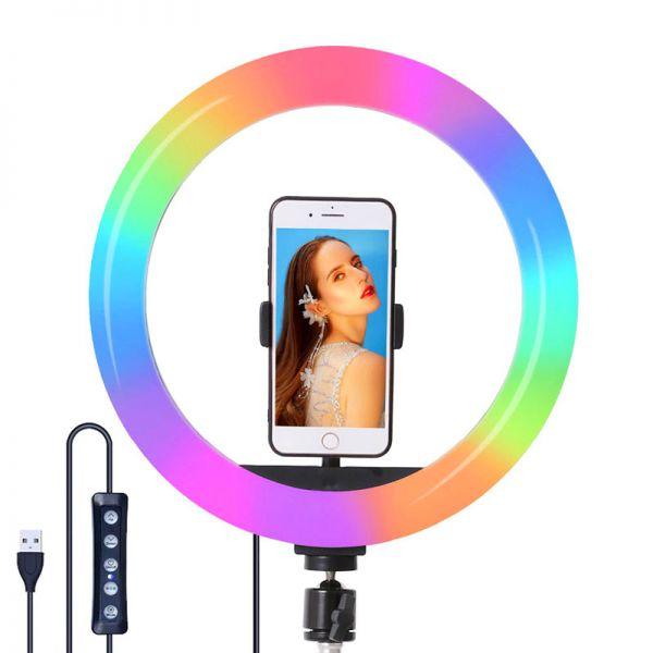 АКЦИЯ! Кольцевая светодиодная селфи лампа 30 см SOFT RING LIGHT CXB-RGB 300 с креплением для телефона