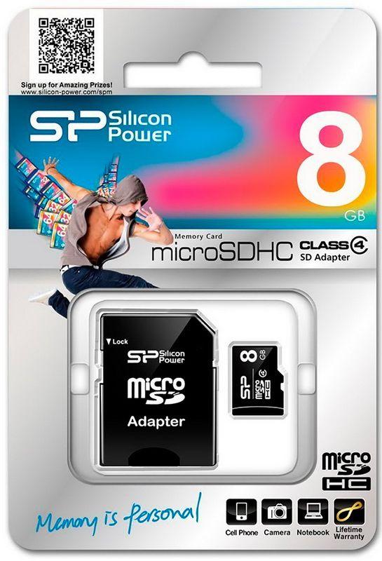 Карта памяти 8GB Silicon Power MicroSDHC