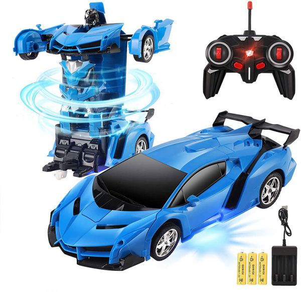 Машинка трансформер на радіокеруванні Lamborghini Robot Car RC 1:18 на акумуляторі Blue