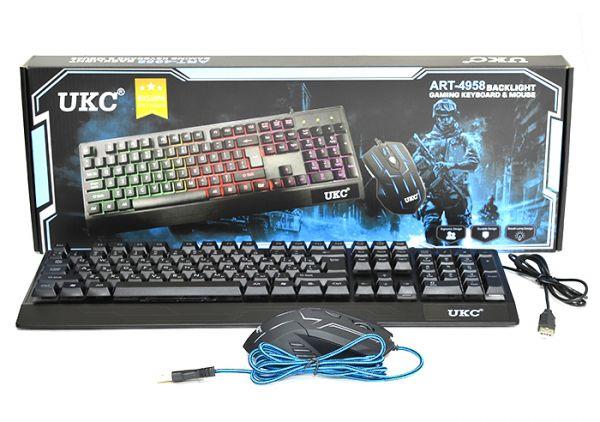 Комплект проводная игровая клавиатура и мышь UKC 4958
